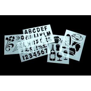 Schablonen zur Beschriftung von Kreidetafeln, Aufsteller, Kundenstopper
