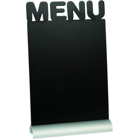 "Tischschild, Tisch-Kreidetafel, ""MENÜ"", A4, Aluminiumsockel"