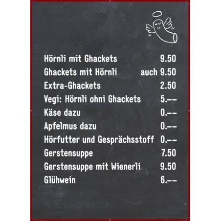 Kreidetafel, Gastrotafel bedruckt mit Angebot oder Logo, 90x60cm Menütafel
