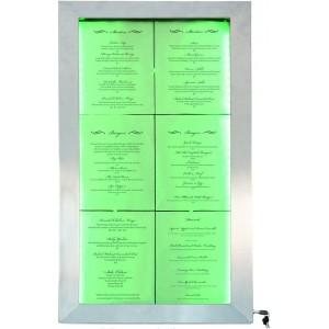 LED Schaukasten Edelstahl, 99x52x5cm, mehrfarbig beleuchtet, 6xA4-Menüständer