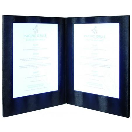 3er-Set LED Menükarten, A4, zweiseitig, beleuchtet, Lederoptik, 35x27x2cm