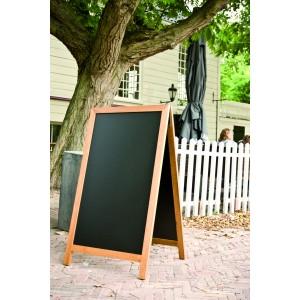 Kundenstopper Holz, 125x70cm, 16 kg, Teak, wetterfest für Aussenbereich