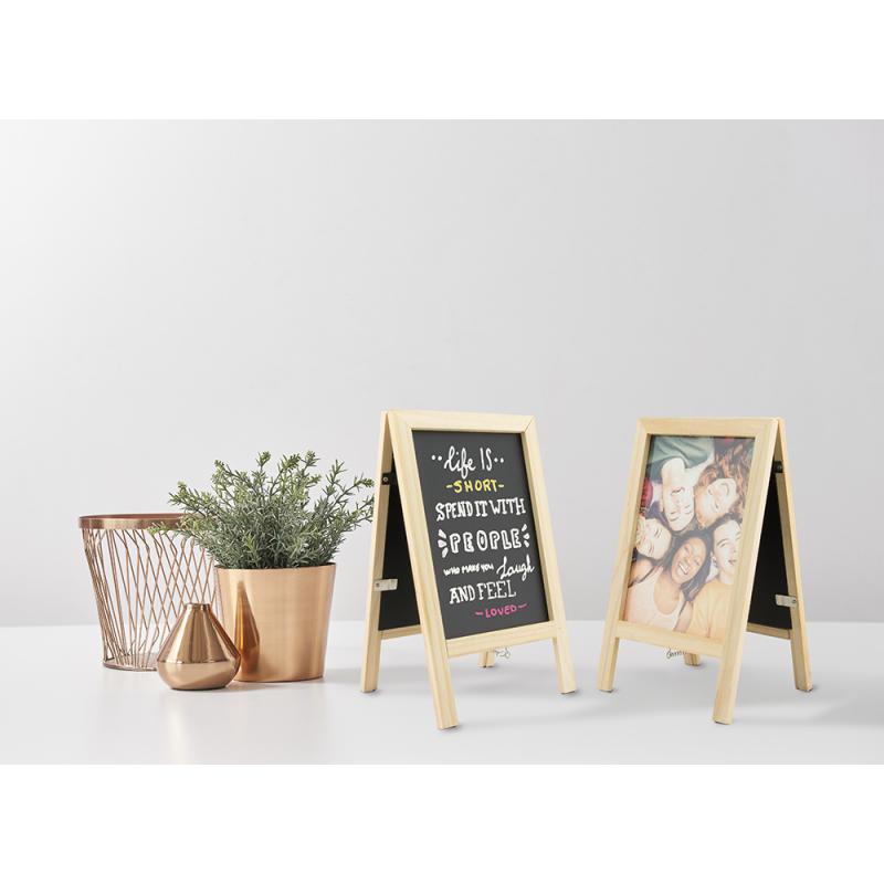 Mini-Kundenstopper als Tischschild und Tischaufsteller zum Beschriften