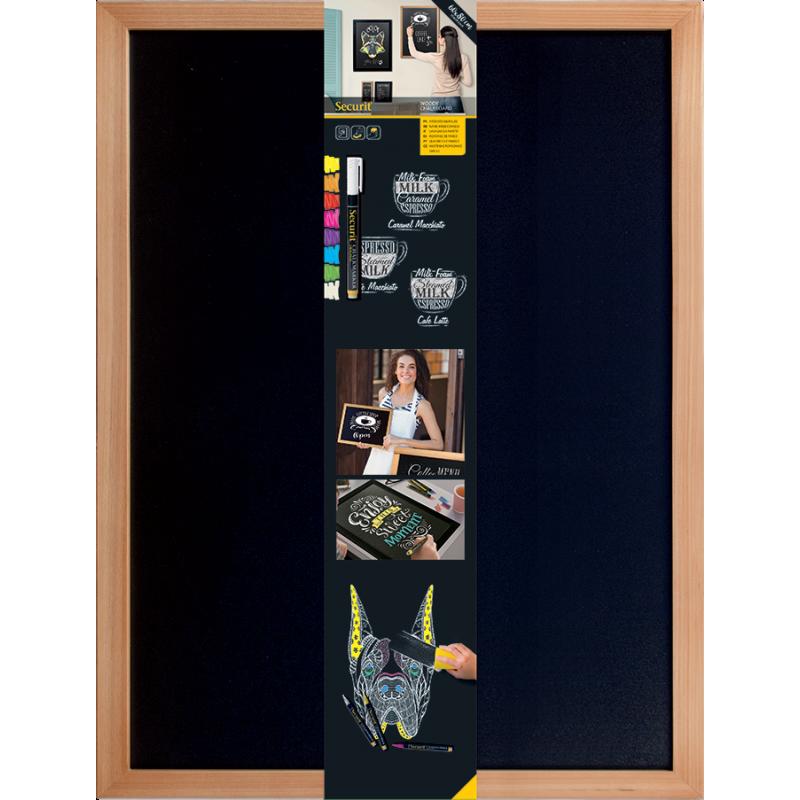 Securit©Woody,Schreibtafel, Gastrotafel, 80x60cm, beidseitig