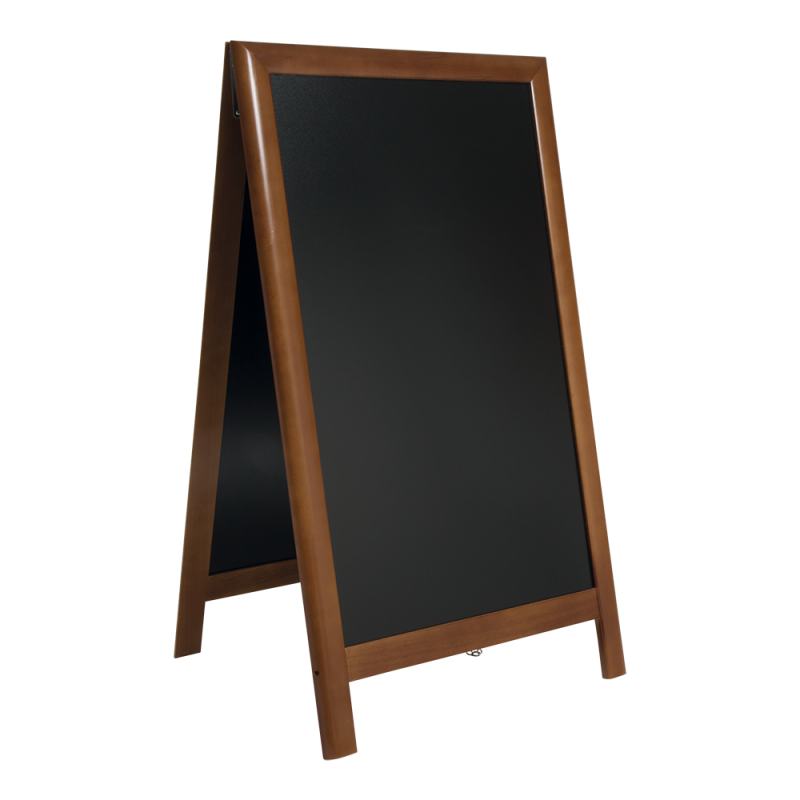 Kundenstopper Holz, 120x70cm gross, Securit©Deluxe, wetterfest, A0, dunkelbraun