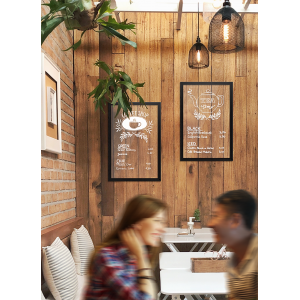Kreidetafel transparent, gläserner Look, schwarzer Rahmen, 40x60cm Gastrotafel